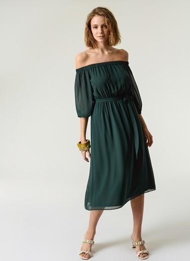 NGSTYLE NGSTYLE Kadın Düşük Omuzlu Günlük Midi Elbise Yeşil